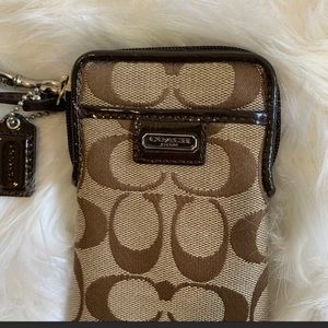 Small Coach signature jacquard canvas wristlet
